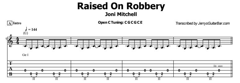 Joni Mitchell - Raised On Robbery Tab