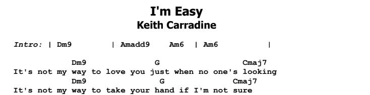 Keith Carradine - I'm Easy Chords & Songsheet