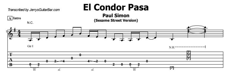 Paul Simon - El Condor Pasa Tab