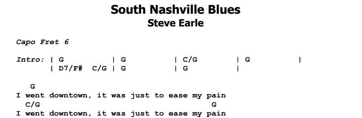 Steve Earle - South Nashville Blues Chords & Songsheet