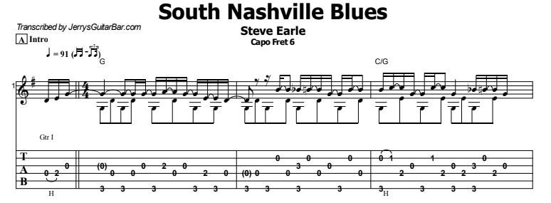 Steve Earle - South Nashville Blues Tab