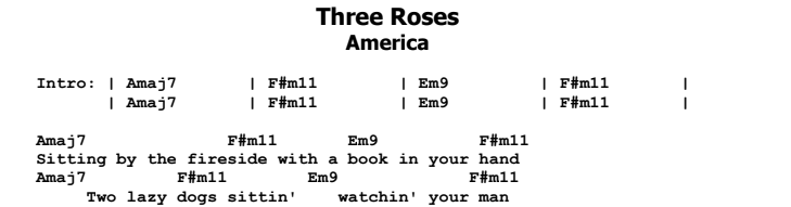 America - Three Roses Chords & Songsheet