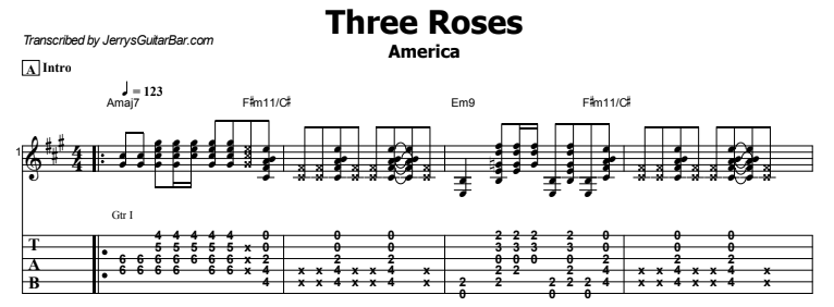 America - Three Roses Tab