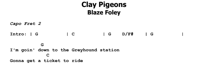 Blaze Foley - Clay Pigeons Guitar Lesson Chords & Songsheet