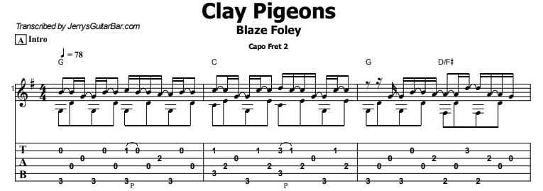 Blaze Foley - Clay Pigeons Guitar Lesson Tab