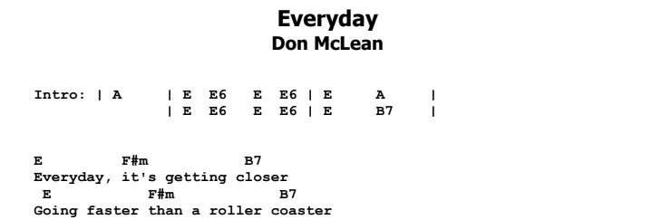 Don McLean - Everyday Chords & Songsheet