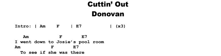 Donovan - Cuttin' Out Chords & Songsheet