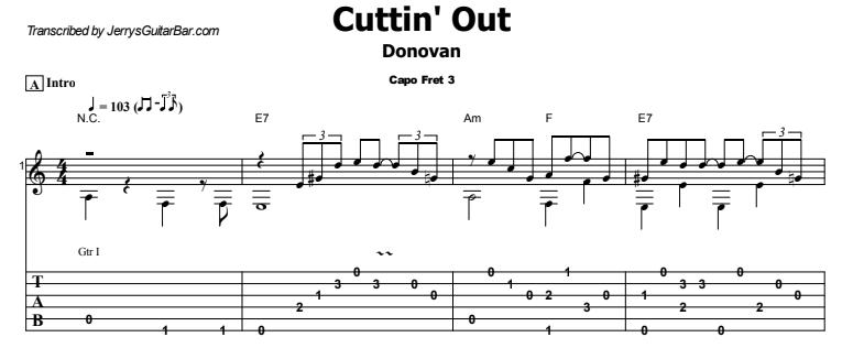 Donovan - Cuttin' Out  Tab