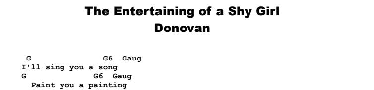Donovan - The Entertaining of a Shy Girl Chords & Songsheet