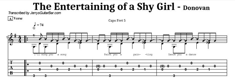 Donovan - The Entertaining of a Shy Girl Tab