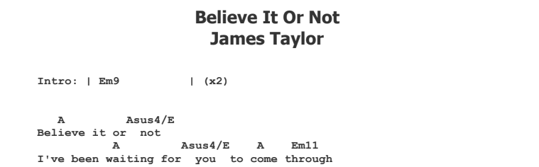 James Taylor - Believe It Or Not Tab Songsheet and Chords
