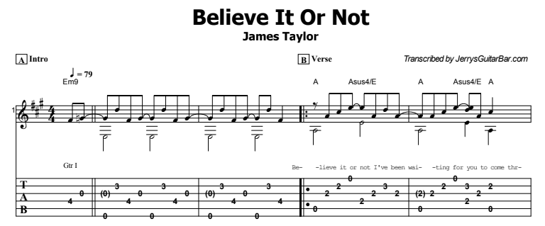 James Taylor - Believe It Or Not Tab