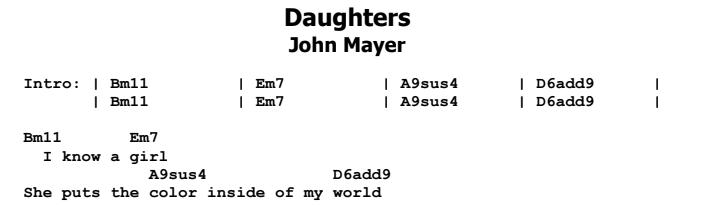 John Mayer - Daughters Guitar Lesson Chords & Songsheet