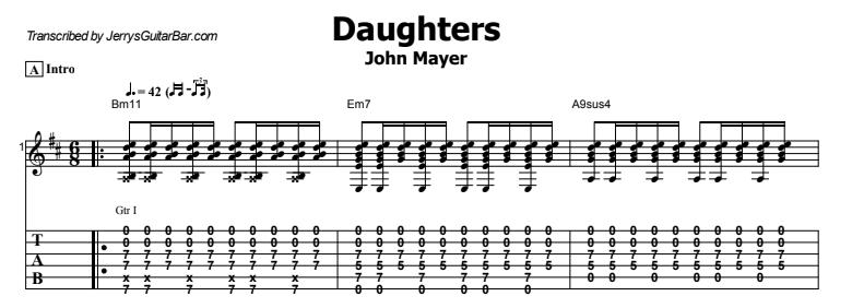John Mayer - Daughters Guitar Lesson Tab