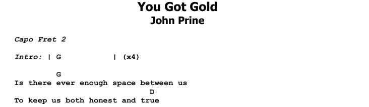 John Prine - You Got Gold Chords & Songsheet