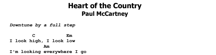 Paul McCartney - Heart of the Country Chords & Songsheet