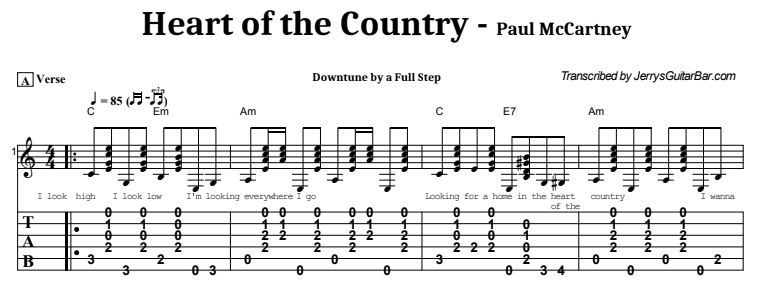 Paul McCartney - Heart of the Country Tab