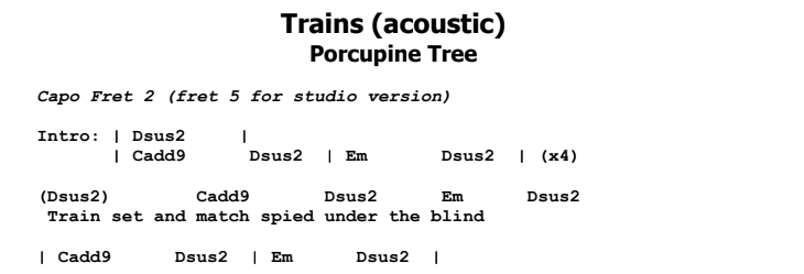 Porcupine Tree - Trains Guitar Lesson Chords & Songsheet