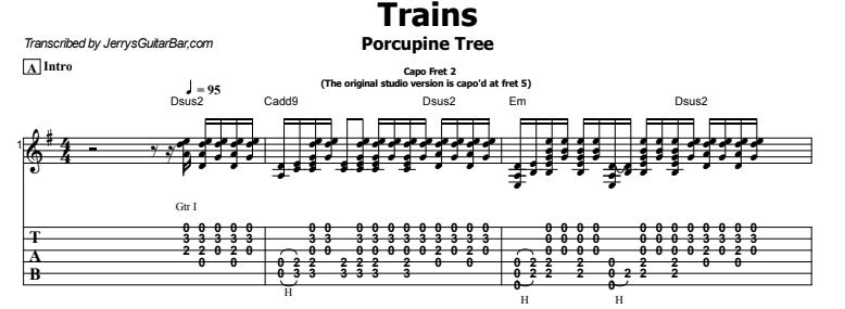 Porcupine Tree - Trains Guitar Lesson Tab