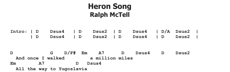 Ralph McTell - Heron Song Guitar Lesson Chords & Songsheet