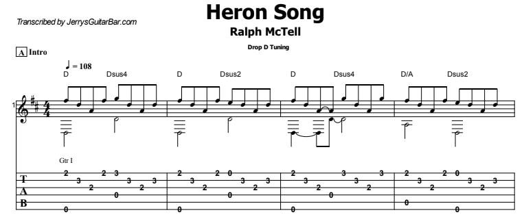 Ralph McTell - Heron Song Guitar Lesson Tab