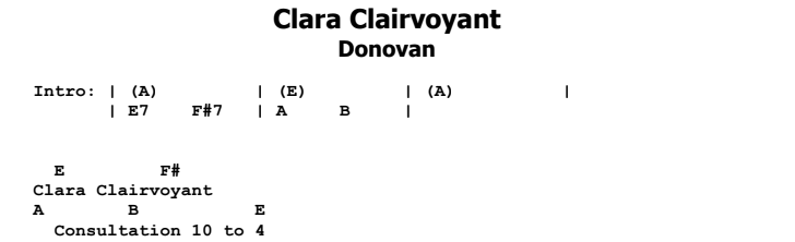 Donovan - Clara Clairvoyant Guitar Lesson Chords & Songsheet