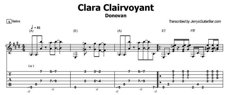 Donovan - Clara Clairvoyant Guitar Lesson Tab