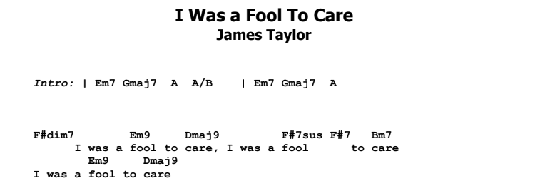 James Taylor - I Was a Fool To Care Guitar Lesson Chords & Songsheet