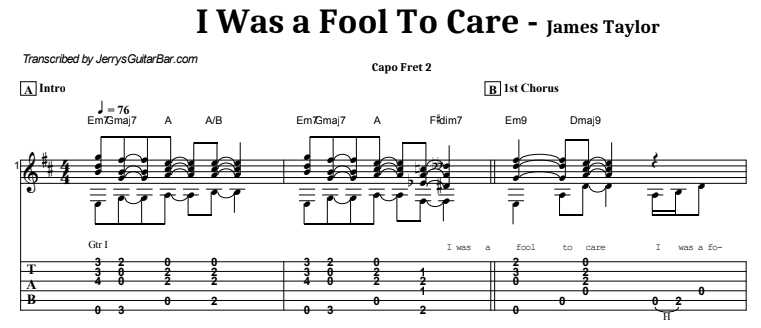 James Taylor - I Was a Fool To Care Guitar Lesson Tab