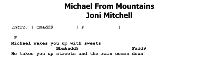 Joni Mitchell - Michael From Mountains Songsheet & Chords
