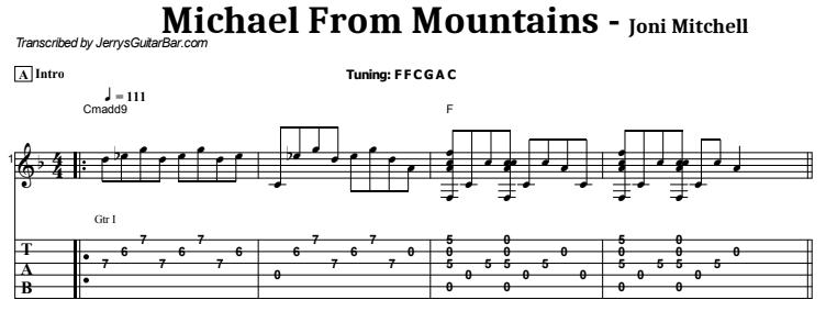 Joni Mitchell - Michael From Mountains Tab