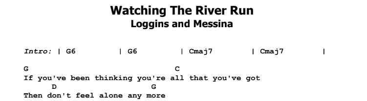 Loggins & Messina - Watching The River Run Guitar Lesson Chords & Songsheet