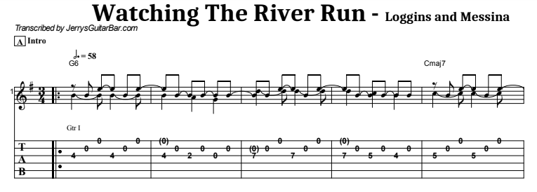 Loggins & Messina - Watching The River Run Guitar Lesson Tab