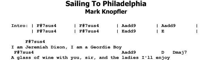 Mark Knopfler - Sailing To Philadelphia Guitar Lesson Chords & Songsheet