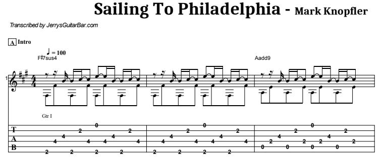 Mark Knopfler - Sailing To Philadelphia Guitar Lesson Tab