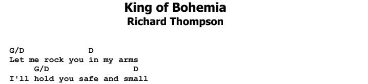 Richard Thompson - King of Bohemia Chords & Songsheet