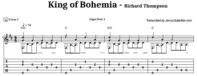 Richard Thompson - King of Bohemia Tab