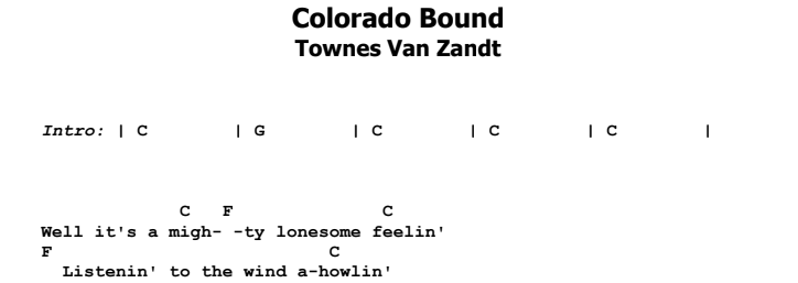 Townes Van Zandt - Colorado Bound Guitar Lesson Chords & Songsheet