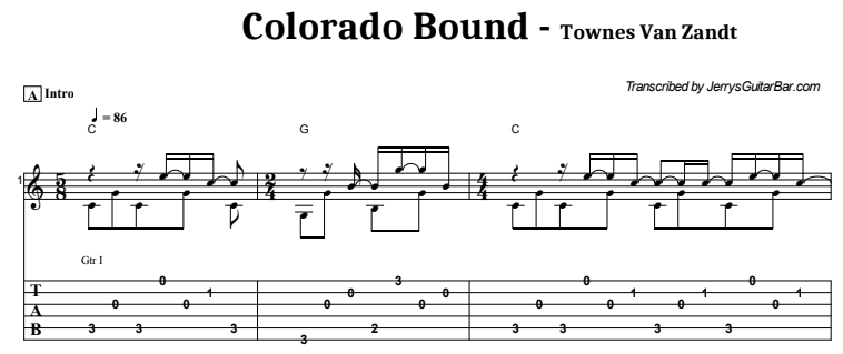Townes Van Zandt - Colorado Bound Guitar Lesson Tab