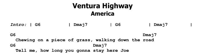 America - Ventura Highway Lead Part 1 Chords & Songsheet