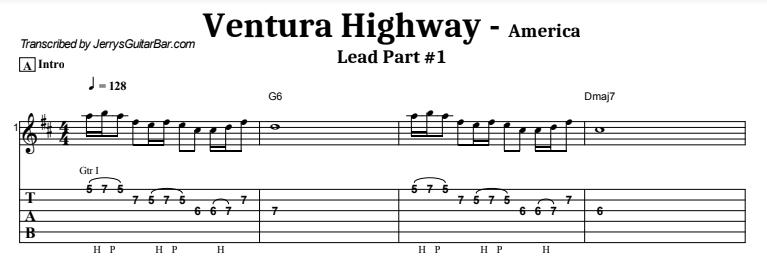 America - Ventura Highway Lead Part 1 Tab