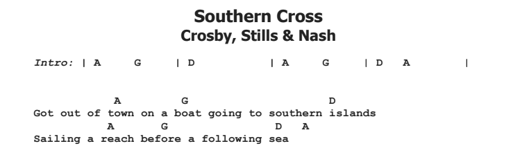 Crosby, Stills & Nash - Southern Cross Guitar Lesson Chords & Songsheet