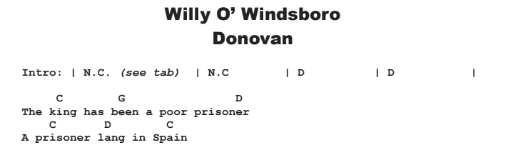 Donovan - Willy o' Windsboro Guitar Lesson Chords & Songsheet
