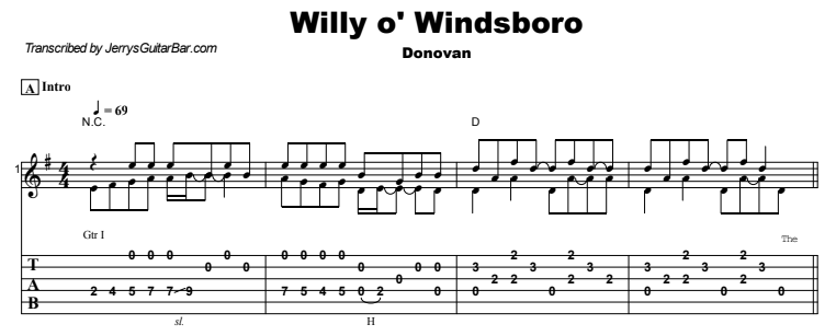 Donovan - Willy o' Windsboro Guitar Lesson Tab