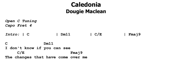 Dougie Maclean - Caledonia Guitar Lesson Chords & Songsheet Preview