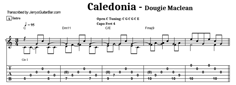 Dougie Maclean - Caledonia Guitar Lesson Tab Preview