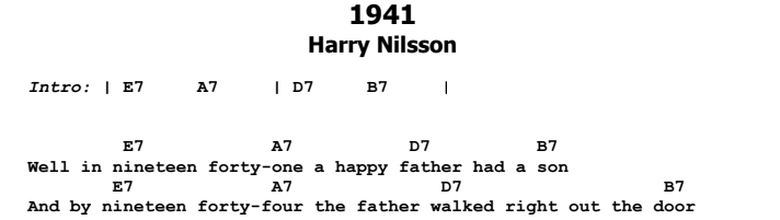Harry Nilsson - 1941 Chords & Songsheet Preview