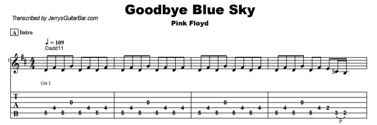Pink Floyd - Goodbye Blue Sky  Tab Preview