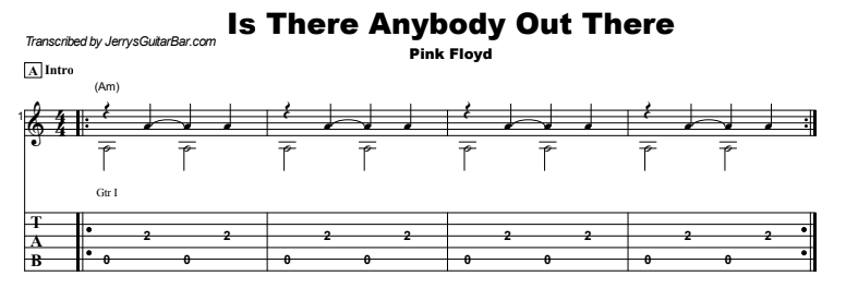 Pink Floyd - Is There Anybody Out There Guitar Lesson Tab Preview