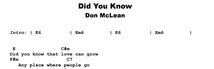 Don McLean - Did You Know Guitar Lesson Chords & Songsheet Preview